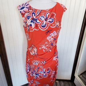 Chaps Red floral short sleeve stretch sheath dress
